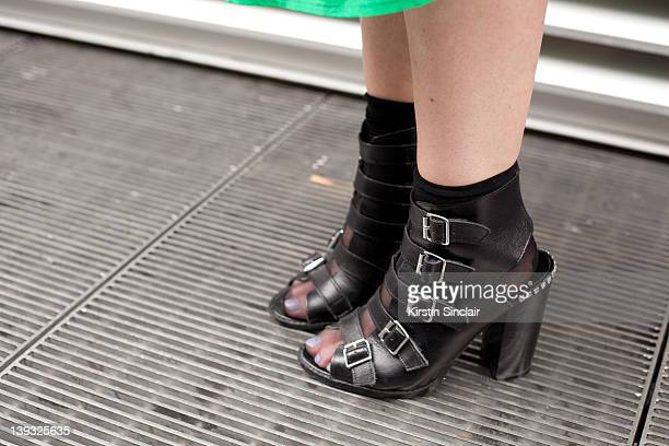 Fashion Assistant at ES Magazine Grace Wither wearing Topshop shoes and Cos socks street style at London fashion week autumn/winter 2012 womenswear...