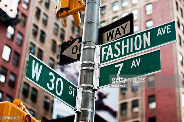 fashion avenue - road sign stock pictures, royalty-free photos & images