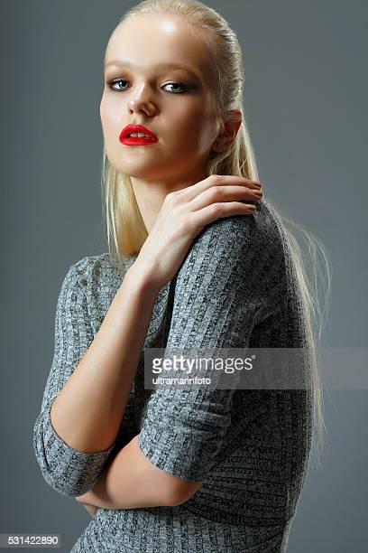 Fashion  Beautiful  young women   Wearing a gray dress