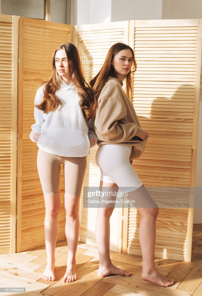 Fashion Models Two Sisters Twins Beautiful Girls With Long