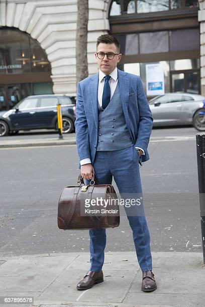 Fashion Blogger Adam Tanous wears a Clemence and Church suit waistcoat shirt and tie Churches shoes Beara Beara bag and Cult glasses day 1 of London...