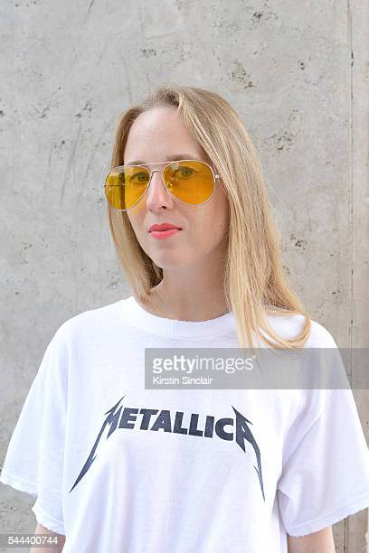 Fashion Blogger Alice Zielasko wears a vintage Metallica T shirt and sunglasses on day 3 of Paris Collections Men on June 24 2016 in Paris France...