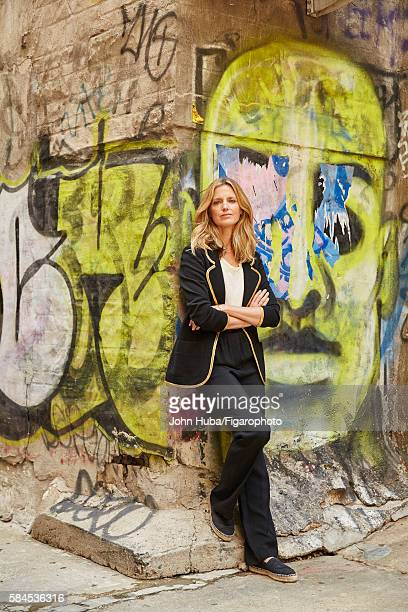Fashion blogger and author Amanda Brooks is photographed for Madame Figaro on July 15 2015 in New York City Jacket pants shoes personal tshirt...