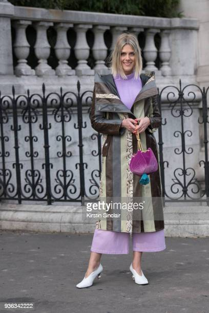 Fashion blogger and Founder of Fashionata Sofie Valkiers wears a Tibi top shoes and jeans The Volon bag Mulberry shoes day 3 of Paris Womens Fashion...