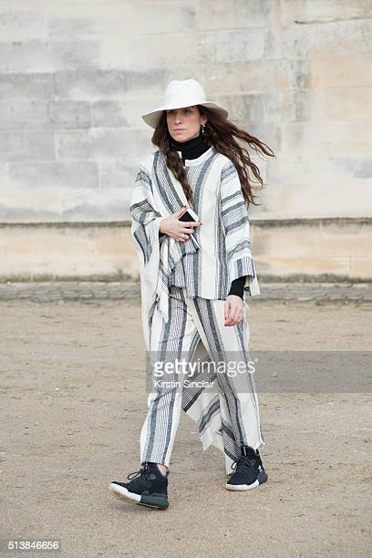 Fashion blogger and insider at Graziait Erika Boldrin wears a Forte Forte look Adidas shoes and Borsalino hat on day 4 during Paris Fashion Week...