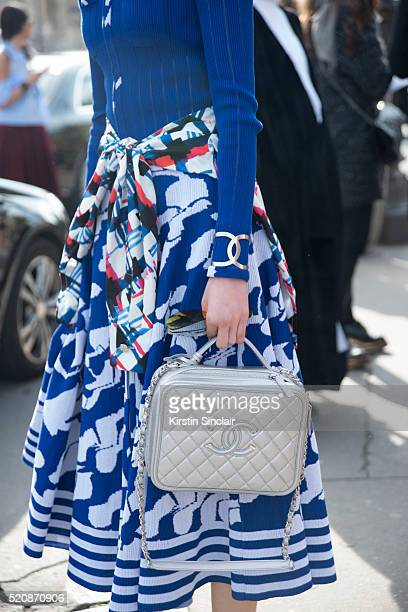 Fashion blogger and model Irene Kim wearing all Chanel on day 8 during Paris Fashion Week Autumn/Winter 2016/17 on March 8 2016 in Paris France Irene...
