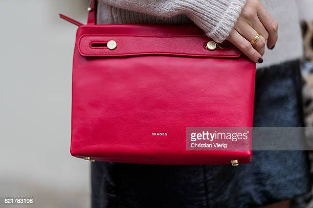 Fashion Blogger and Owner of SCIC Swimwear Sofia Grau wearing a red bag Skagen Denmark on November 8 2016 in Berlin Germany