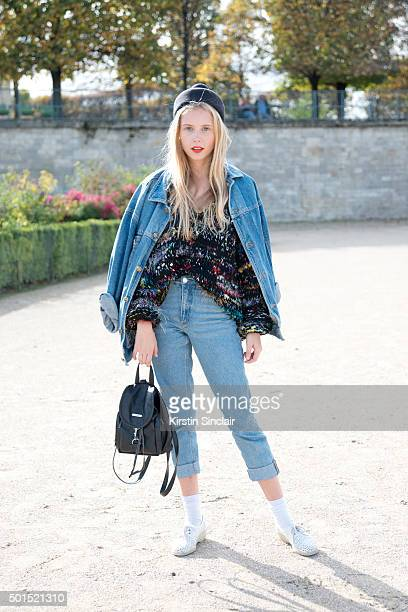 Fashion Blogger and Photographer Marie My wears a vintage bag shoes and jacket Monki jeans Larke Bagger sweater and a Mette Assarsson hat on day 8...