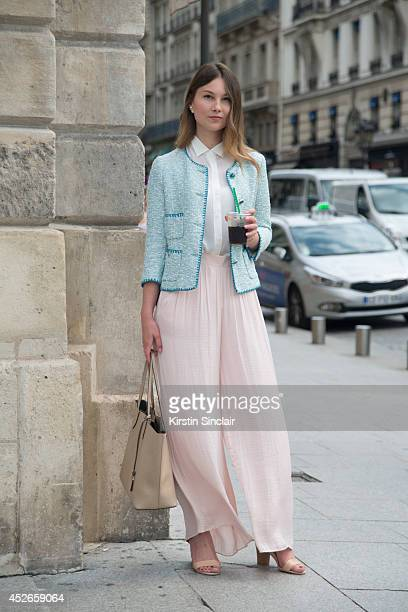 Fashion Blogger Angelica Ardasheva wearing a Zara top jacket and skirt Mango shoes and Gianni Chiarini bag day 2 of Paris Haute Couture Fashion Week...