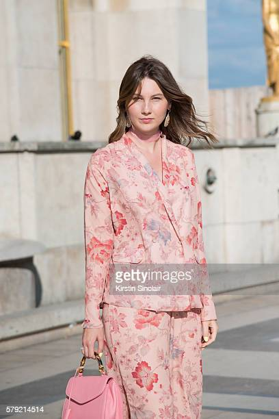 Fashion blogger Angelica Ardasheva wears an ASOS pyjama suit and Buti bag on day 3 of Paris Haute Couture Fashion Week Autumn/Winter 2016 on July 5...