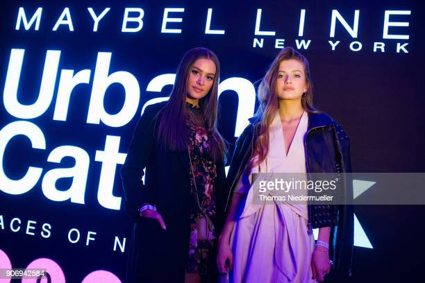 Fashion blogger Angelina Lilienne and Zoe Pastelle are seen after the Maybelline Show 'Urban Catwalk Faces of New York' at Vollgutlager on January 18...