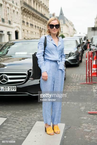 80c877c8d4 Fashion Blogger Anna Borisovna wears a Zara jumpsuit shoes and earrings Celine  sunglasses and Mango bag