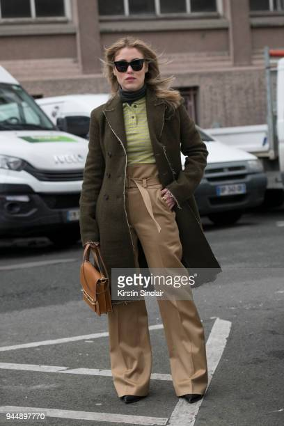 Fashion blogger Annabel Rosendahl wears all Carven and a Hermes bag and Celine sunglasses day 4 of Paris Womens Fashion Week Spring/Summer 2018 on...