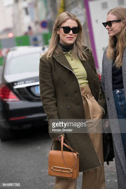 Fashion blogger Annabel Rosendahl wears all Carven with an Hermes bag and Celine sunglasses day 4 of Paris Womens Fashion Week Spring/Summer 2018 on...