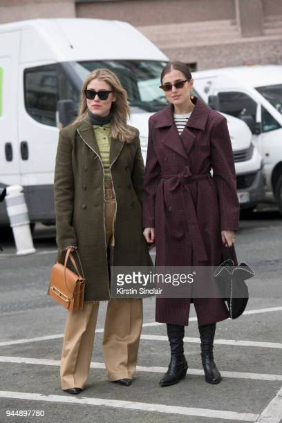 Fashion blogger Annabel Rosendahl wears all Carven with an Hermes bag and Celine sunglasses with Fashion blogger Darja Barannik wearing an Epilogue...