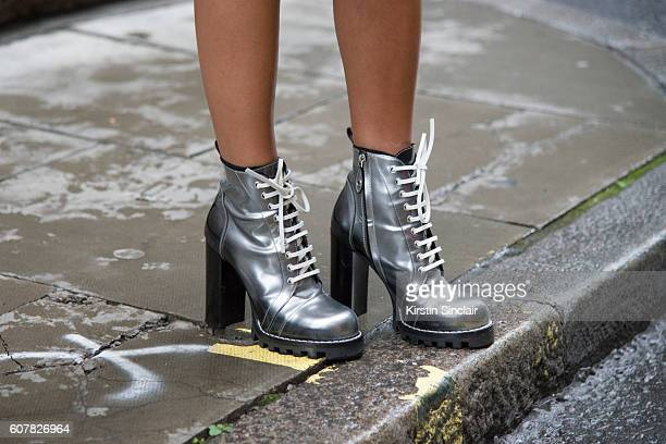 Fashion Blogger Annacarla e Simona is wearing shoes by Louis Vuitton day 1 of London Womens Fashion Week Spring/Summer 2016 on September 16 2016 in...