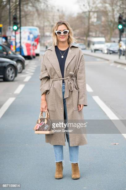 Fashion blogger AnneLaure Mais Adenorah wears Manouska trousers Louis Vuitton bag Levi'u2019s jeans JONAK shoes and vintage sunglasses on day 4 of...