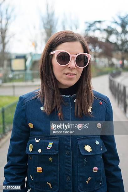 Fashion Blogger Benedetta Mariotti wears a Zara customized jacket on day 6 during Paris Fashion Week Autumn/Winter 2016/17 on March 6 2016 in Paris...