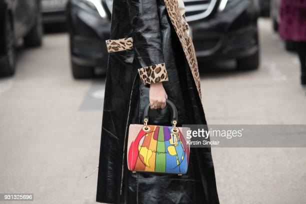 Fashion blogger Blanca Miro Scrimieri wears a Stand coat and a Dior bag day 2 of Paris Womens Fashion Week Spring/Summer 2018 on February 27 2018 in...
