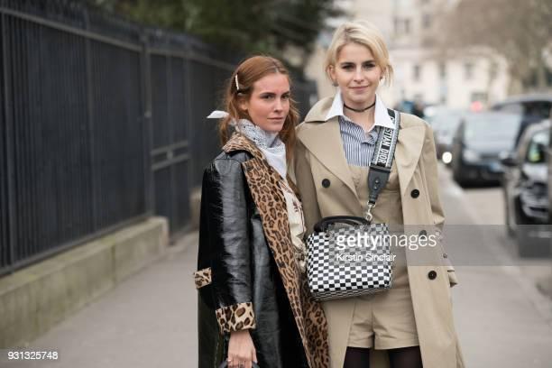 Fashion blogger Blanca Miro Scrimieri wears a Stand coat Wald Berlin scarf with Fashion blogger Caroline Daur wearing all Dior day 2 of Paris Womens...