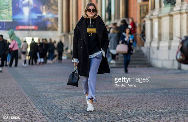 Fashion blogger Camille Charriere wearing Ganni outside By Malene Birger during the Copenhagen Fashion Week Autumn/Winter 2016 on February 4 2016 in...