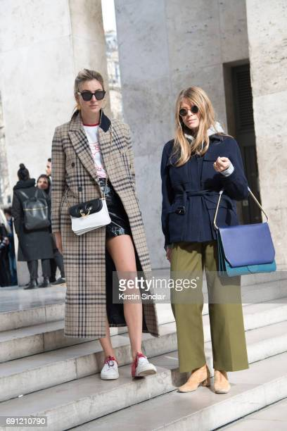 Fashion blogger Camille Charriere wears a Mango coat JW Anderson bag Céline sunglasses with Creative consultant and copresenter of Fashion No Filter...