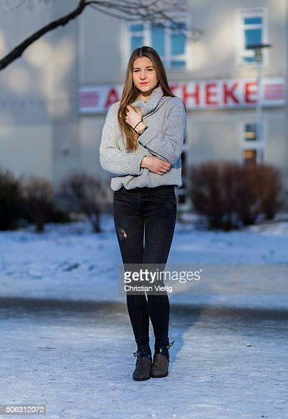 Fashion Blogger Caroline Julius wearing sweater Lookbook Store Zara pants shoes and Marc Cain jewelry during the MercedesBenz Fashion Week Berlin...