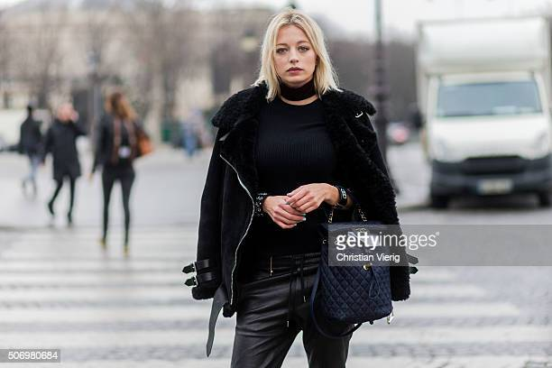 Fashion blogger Caroline Vreeland wearing Chanel outside Chanel during the Paris Fashion Week Haute Couture Spring/Summer 2016 on January 26 2016 in...