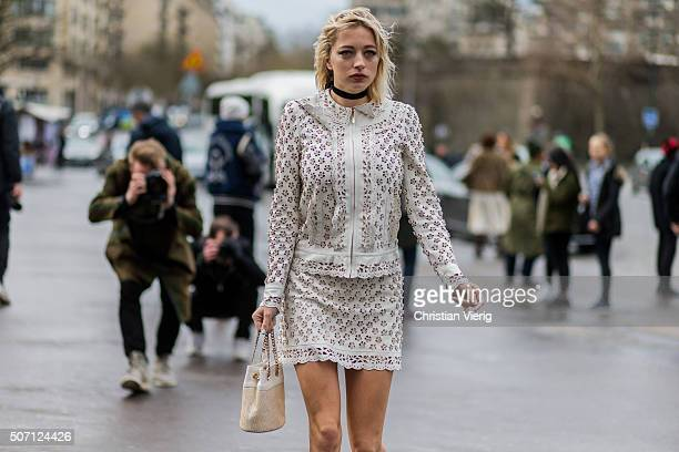Fashion blogger Caroline Vreeland wearing Elie Saab outside Elie Saab during the Paris Fashion Week Haute Couture Spring/Summer 2016 on January 27...