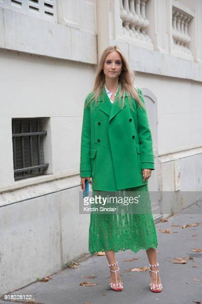 Fashion blogger Charlotte Groeneveld of The Fashion Guitar wears a Valentino jacket shoes and skirt day 6 of Paris Womens Fashion Week Spring/Summer...