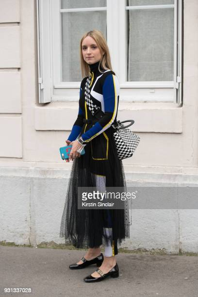 Fashion blogger Charlotte Groeneveld of thefashionguitar wears all Dior day 2 of Paris Womens Fashion Week Spring/Summer 2018, on February 27, 2018...