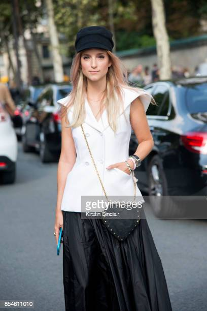 Fashion blogger Charlotte Groeneveld wears a Dior top skirt bag and hat day 1 of Paris Womens Fashion Week Spring/Summer 2018 on September 26 2017 in...