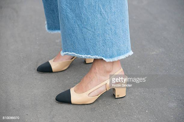 Fashion blogger Charlotte Groeneveld wears Rodebjer jeans Chanel shoes on day 3 of Paris Haute Couture Fashion Week Spring/Summer 2016 on January 26...