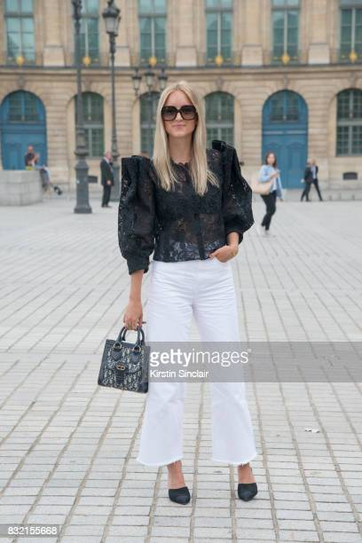 Fashion blogger Charlotte Groneveld ThefashionGuitarcom wears a Monique L'Huillier top Dior bag Chanel shoes Mih jeans Gucci sunglasses day 2 of...