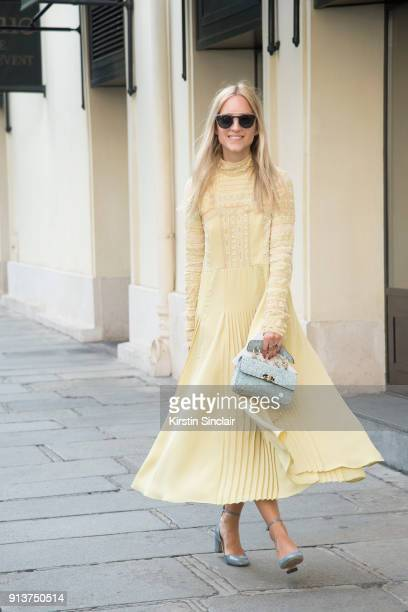 Fashion blogger Charlotte Groneveld wears a Valentino dress bag shoes and sunglasses day 4 of Paris Haute Couture Fashion Week Autumn/Winter 2017 on...