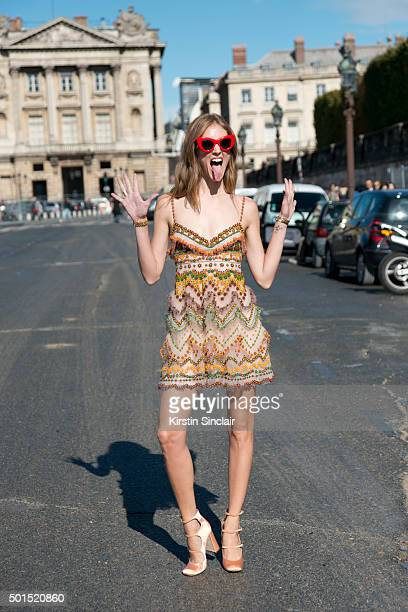 Fashion Blogger Chiara Fengari wears a Valentino dress on day 8 during Paris Fashion Week Spring/Summer 2016/17 on October 6 2015 in Paris France...
