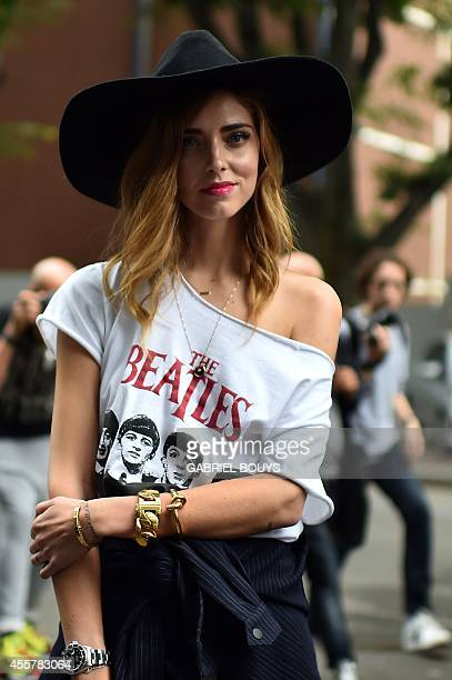 Fashion blogger Chiara Ferragni poses in the street prior a show during the 2015 Spring / Summer Milan Fashion Week on September 20 2014 in Milan AFP...