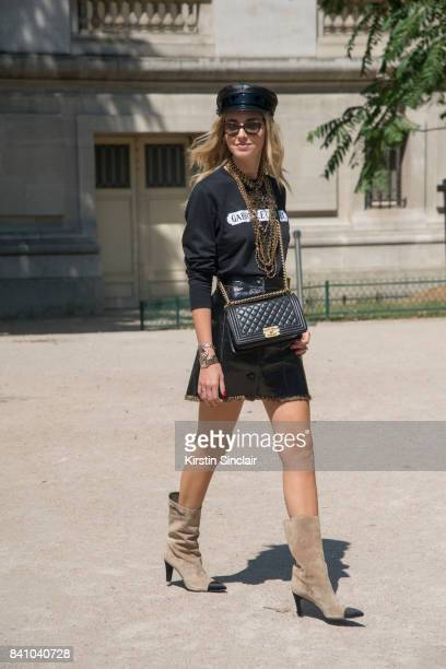 Fashion Blogger Chiara Ferragni wears all Chanel day 3 of Paris Haute Couture Fashion Week Autumn/Winter 2017 on July 4 2017 in Paris France