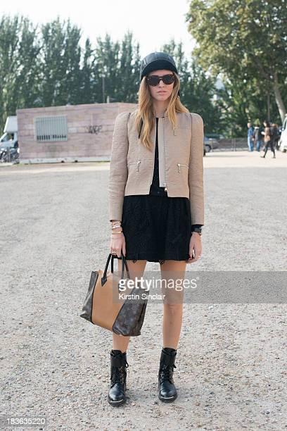 Fashion blogger Chiara Ferranghi wearing Louis Vuitton on day 9 of Paris Fashion Week Spring/Summer 2014 Paris October 02 2013 in Paris France