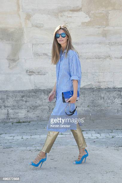 Fashion Blogger Clara Racz wears a Patrizia Pepe bag Lodovico Zordanazzo shoes PQ sunglasses and a vintage top and trousers on day 5 during Paris...