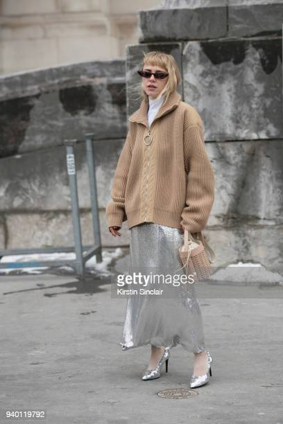 Fashion blogger Courtney Trop wears all Paco Rabanne day 4 of Paris Womens Fashion Week Spring/Summer 2018 on March 1 2018 in London England