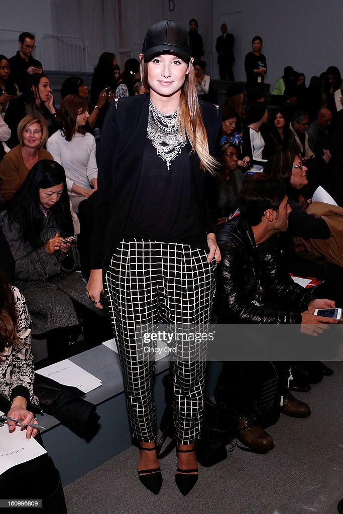 Fashion Blogger Danielle Bernstein attends the Carmen Marc Valvo Fall 2013 fashion show during Mercedes-Benz Fashion Week at The Stage at Lincoln Center on February 8, 2013 in New York City.