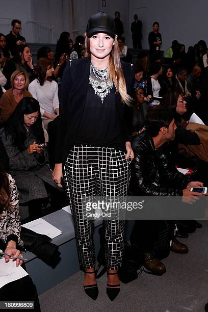 Fashion Blogger Danielle Bernstein attends the Carmen Marc Valvo Fall 2013 fashion show during MercedesBenz Fashion Week at The Stage at Lincoln...