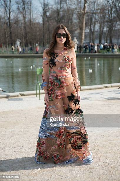 Fashion Blogger Eleonora Carisi wearing all Valentino on day 8 during Paris Fashion Week Autumn/Winter 2016/17 on March 8 2016 in Paris France...