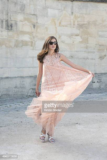 Fashion Blogger Eleonora Carisi wears all Ellie Saab on day 5 during Paris Fashion Week Spring/Summer 2016/17 on October 3 2015 in Paris France