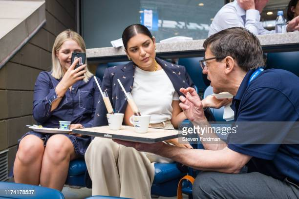 Fashion blogger Emily Luciano enjoys coffee in the Lavazza Lounge during the 2019 US Open at Arthur Ashe Stadium on September 08, 2019 in New York...
