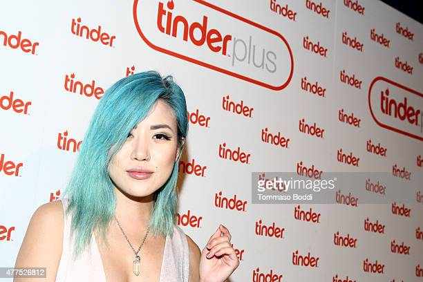 Fashion blogger Eugenie Grey attends the Tinder Plus Launch Party featuring Jason Derulo and ZEDD at Hangar 8 Santa Monica at Barker Hangar on June...