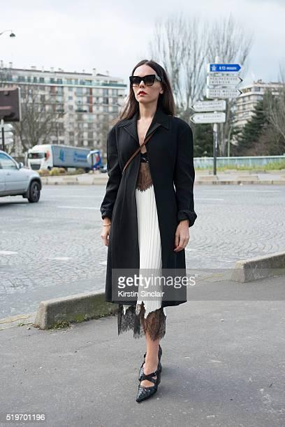 Fashion Blogger Evangelie Smyrniotaki wears all Celine on day 6 during Paris Fashion Week Autumn/Winter 2016/17 on March 6 2016 in Paris France...