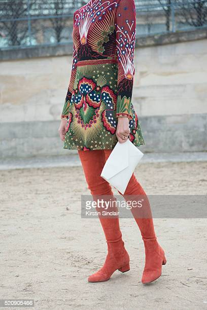 Fashion Blogger Evangelie Smyrniotaki wears all Valentino on day 8 during Paris Fashion Week Autumn/Winter 2016/17 on March 8 2016 in Paris France...