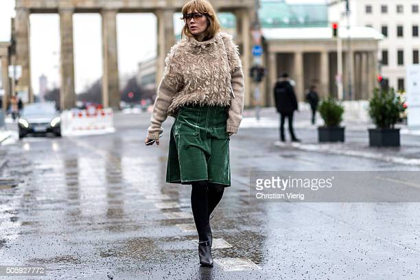 Fashion blogger Fiona Jane of Spotding outside Dorothee Schumacher during the MercedesBenz Fashion Week Berlin Autumn/Winter 2016 at Brandenburg Gate...